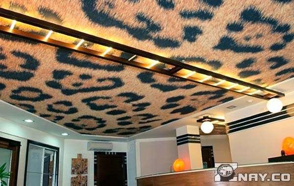 Тканевый натяжной потолок - леопардовая расцветка