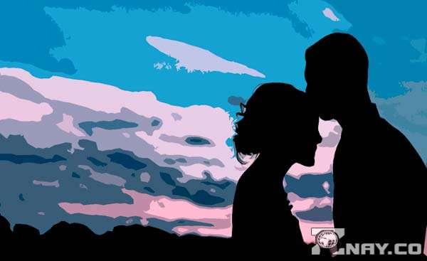 Глубокие романтические чувства на закате