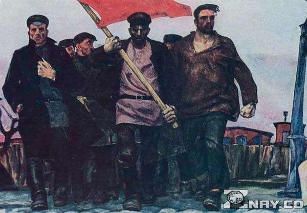 Маяковский и Николай 2 со знаменем