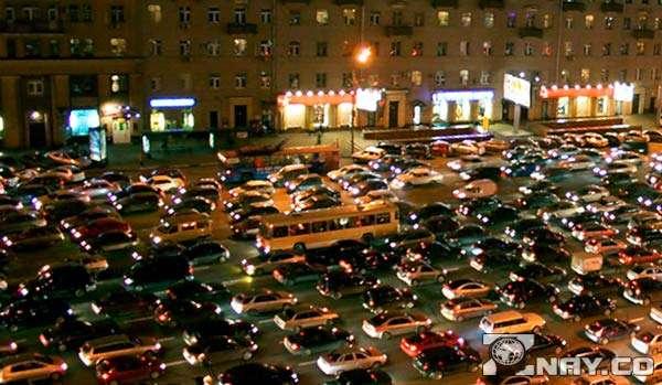 Плотные пробки на улицах