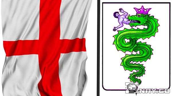 Флаг Милана и герб Висконти