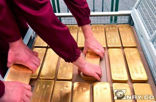 Золотые слитки в хранилище