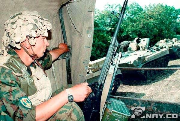 Российский солдат в Чечне