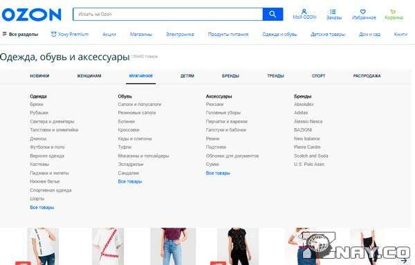 Список товаров на Сайте OZON