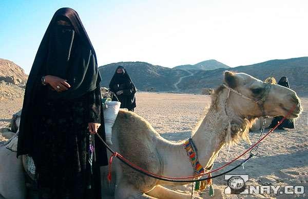 Бедуины в пустыне в черных одеяниях