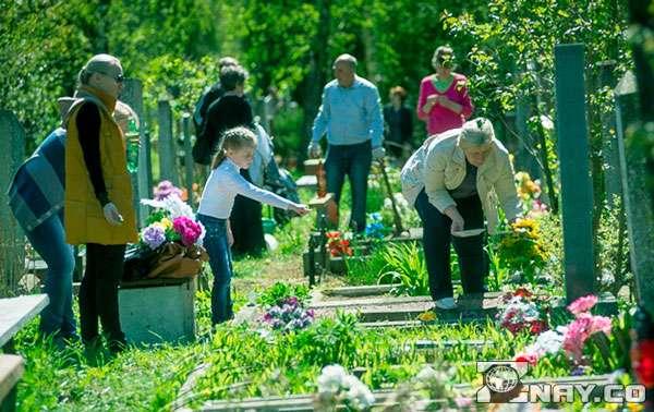 Берут гостинцы с кладбища