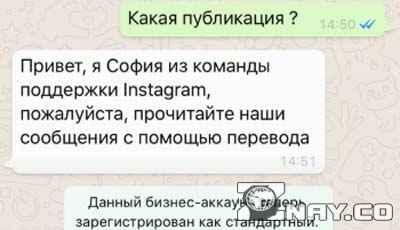 Переписка с техподдержкой Instagram
